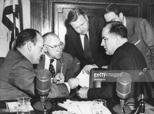 Senator Joseph McCarthy's Senate Investigating Subcommittee resumed open hearings on possible communist activities at Fort Monmouth New Jersey In...