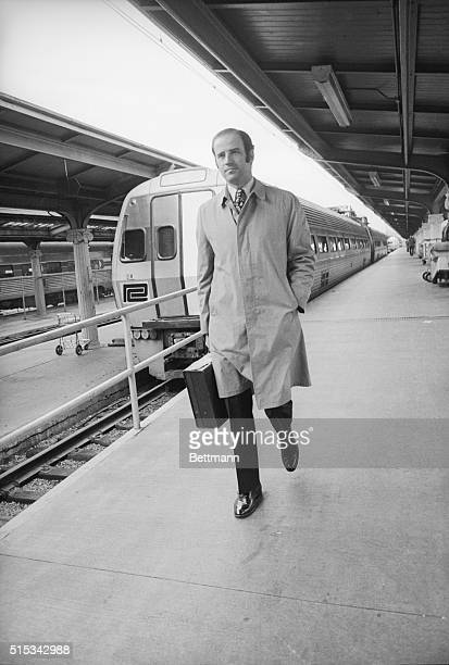 Senator Joseph R Biden DDel is seen here at Union Station where most days after the Senate adjourns he catches the Metroliner to Wilmington for home...