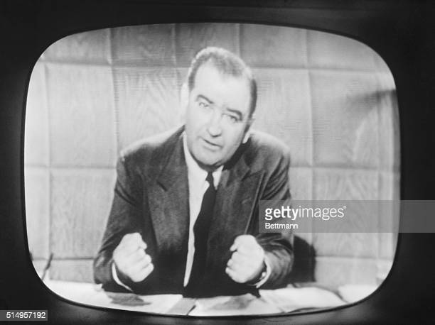 Senator Joseph R. McCarthy, appearing on a television screen during his filmed reply to Columbia Broadcasting System newscaster Edward R. Murrow,...