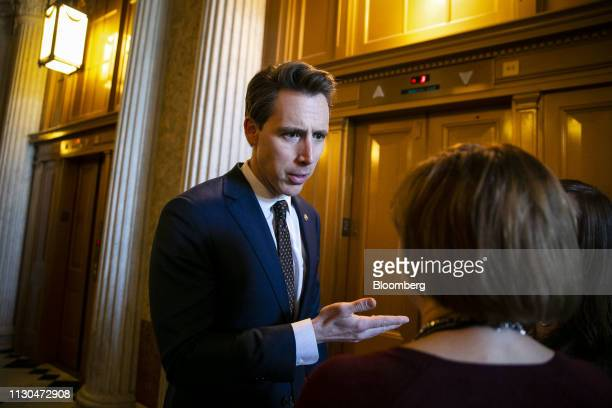 Senator Josh Hawley a Republican from Missouri speaks to members of the media following a vote on the national emergency declaration in Washington DC...