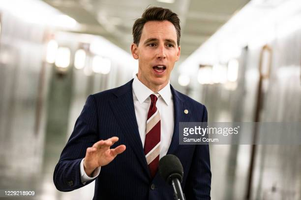 Senator Josh Hawley makes a statement after voting in the Judiciary Committee to move the nomination of Judge Amy Coney Barrett to the Supreme Court...
