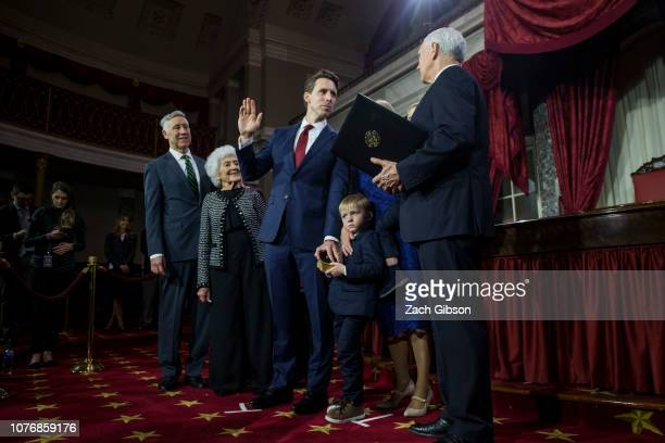 Senator Josh Hawley participates in a mock swearing in ceremony with Vice President Mike Pence on Capitol Hill on January 3 2019 in Washington DC