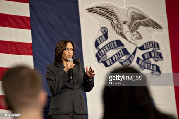 Senator Kamala Harris, a Democrat from California and 2020 presidential candidate, speaks during a campaign stop in Ankeny, Iowa, U.S., on Saturday,...