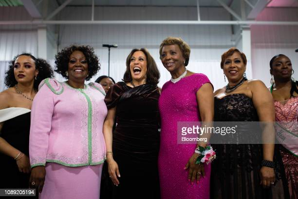 Senator Kamala Harris a Democrat from California center stands with attendees and participates in the Alpha Kappa Alpha Sorority Inc hymn at their...