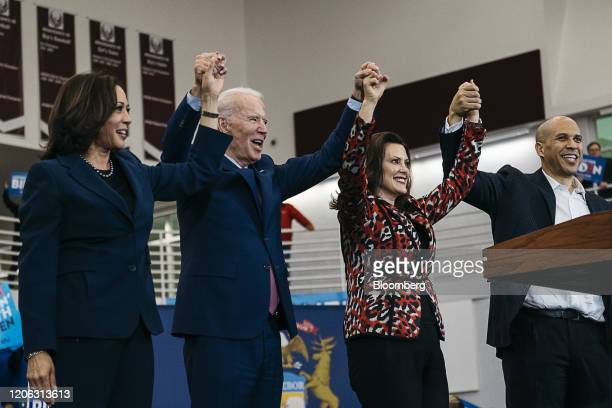 Senator Kamala Harris a Democrat from California from left former Vice President Joe Biden 2020 Democratic presidential candidate Gretchen Whitmer...