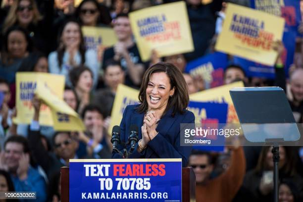 Senator Kamala Harris a Democrat from California reacts while speaking during an event to launch presidential campaign in Oakland California US on...