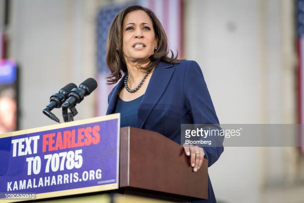 Senator Kamala Harris a Democrat from California speaks during an event to launch presidential campaign in Oakland California US on Sunday Jan 27...