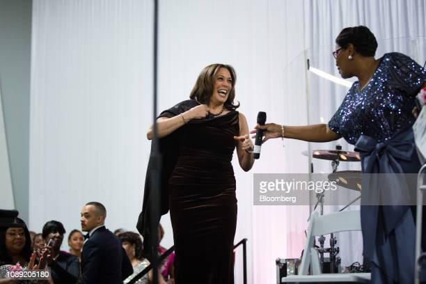 Senator Kamala Harris a Democrat from California takes the stage during the Alpha Kappa Alpha Sorority Inc Annual Pink Ice Gala in Columbia South...