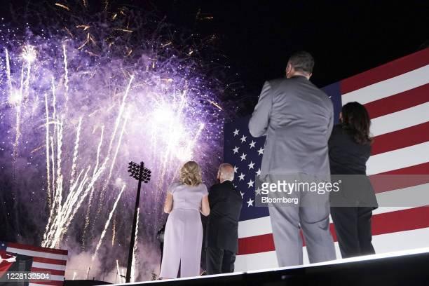 Senator Kamala Harris, Democratic vice presidential nominee, from right, husband Douglas Emhoff, former Vice President Joe Biden, Democratic...