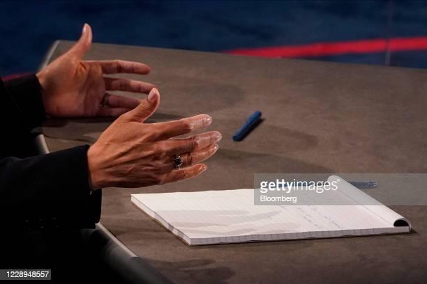 Senator Kamala Harris, Democratic vice presidential nominee, gestures during the U.S. Vice presidential debate at the University of Utah in Salt Lake...
