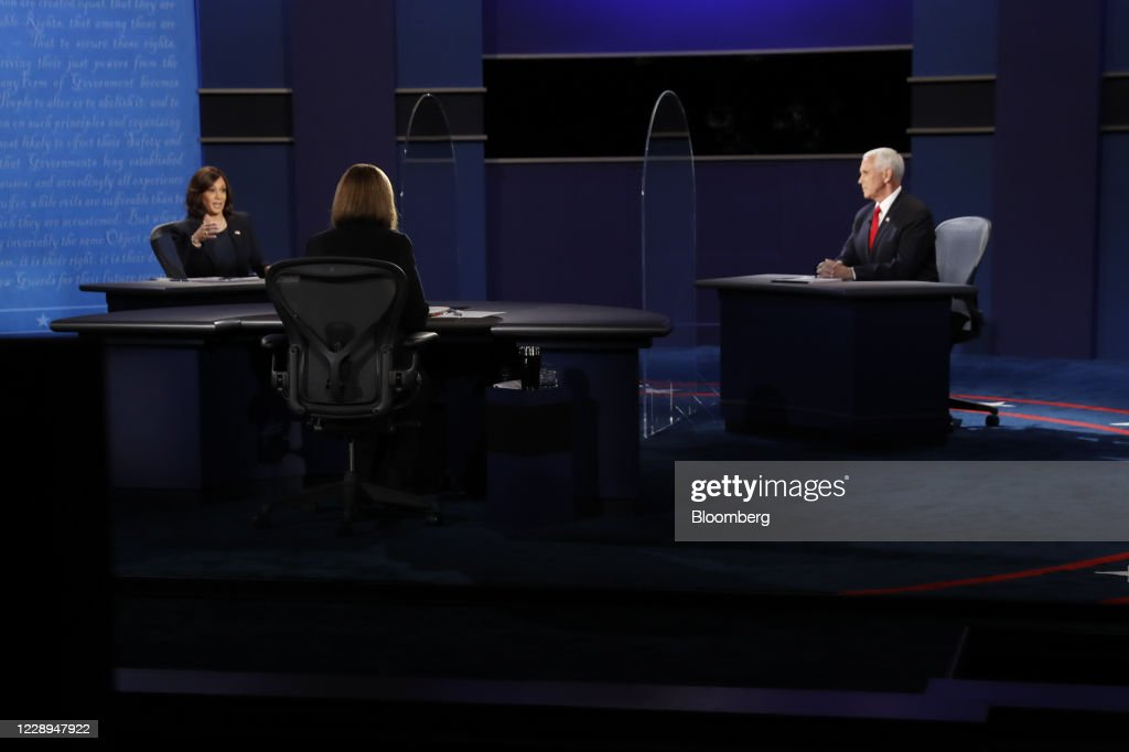 Kamala Harris And Mike Pence Participate In Vice Presidential Debate : News Photo