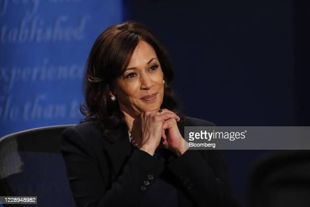 Senator Kamala Harris, Democratic vice presidential nominee, listens during the U.S. Vice presidential debate at the University of Utah in Salt Lake...