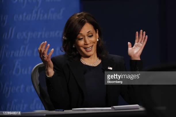 Senator Kamala Harris, Democratic vice presidential nominee, reacts while speaking during the U.S. Vice presidential debate at the University of Utah...