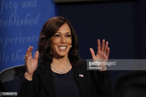 Senator Kamala Harris, Democratic vice presidential nominee, smiles while speaking during the U.S. Vice presidential debate at the University of Utah...