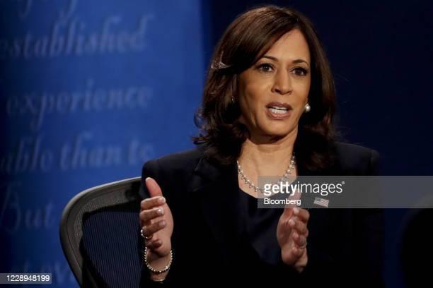 Senator Kamala Harris, Democratic vice presidential nominee, speaks during the U.S. Vice presidential debate at the University of Utah in Salt Lake...
