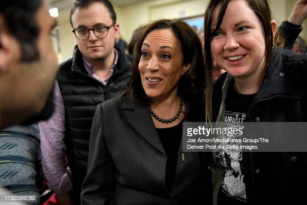 S Senator Kamala Harris greets supporters at the Story County Democrats Soup Supper at the Collegiate United Methodist Church February 23 in Ames Iowa