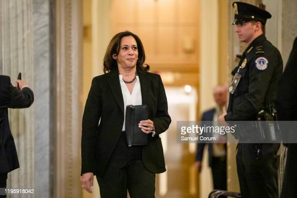 Senator Kamala Harris heads back to the floor of the Senate during a recess in the Senate impeachment trial of President Donald Trump on January 24,...