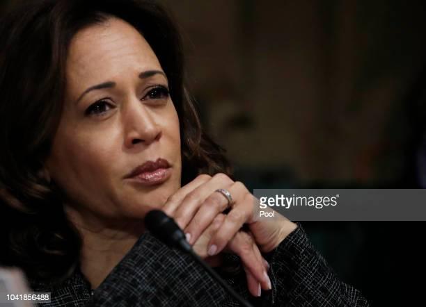 Senator Kamala Harris listens during a Senate Judiciary Committee confirmation hearing with professor Christine Blasey Ford, who has accused U.S....