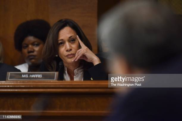 Senator Kamala Harris questions Attorney General William Barr as Barr testifies before the Senate Judiciary Committee at the Dirksen Building on...