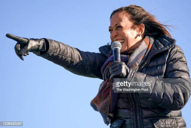 Senator Kamala Harris speaks during a Latino Get Out the Vote Drive-in Event, in Bethlehem, Pennsylvania, on November 2, 2020.