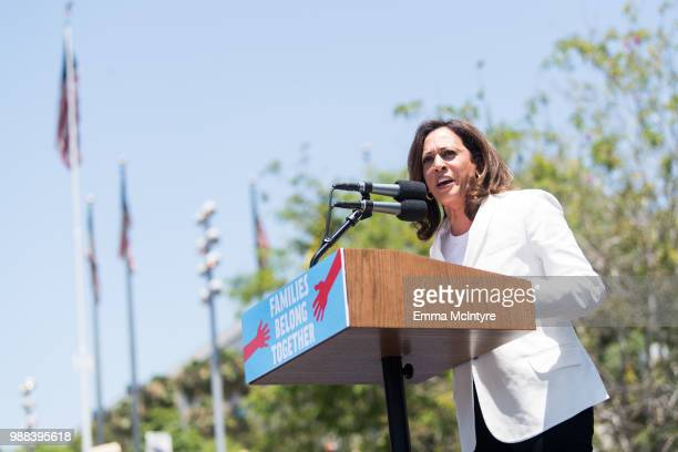 Senator Kamala Harris speaks onstage at 'Families Belong Together Freedom for Immigrants March Los Angeles' at Los Angeles City Hall on June 30 2018...