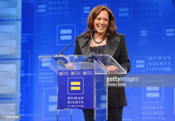 Senator Kamala Harris speaks onstage at The Human Rights Campaign 2019 Los Angeles Gala Dinner at JW Marriott Los Angeles at L.A. LIVE on March 30,...