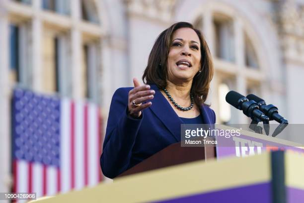 Senator Kamala Harris speaks to her supporters during her presidential campaign launch rally in Frank H. Ogawa Plaza on January 27 in Oakland,...
