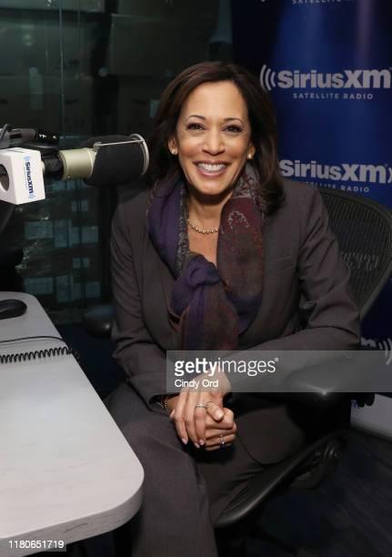 Senator Kamala Harris visits with SiriusXM Signal Boost Cohosts Zerlina Maxwell and Jess McIntosh at SiriusXM Studios on November 7 2019 in New York...