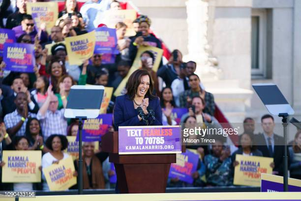 S Senator Kamala Harris waves to her supporters during her presidential campaign launch rally in Frank H Ogawa Plaza on January 27 in Oakland...