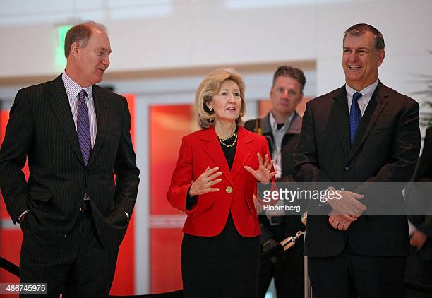 Senator Kay Bailey Hutchison a Republican from Texas Gary Kelly president and chief executive officer of Southwest Airlines Co center speaks as Gary...