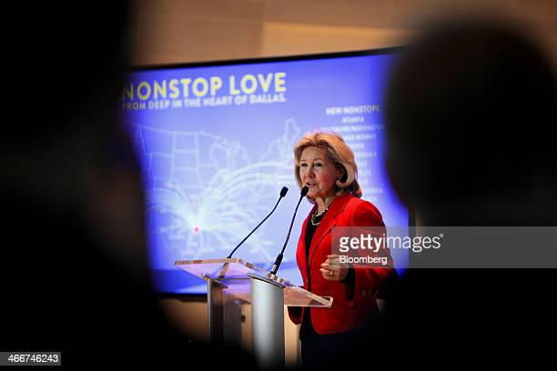 Senator Kay Bailey Hutchison a Republican from Texas Gary Kelly president and chief executive officer of Southwest Airlines Co speaks during a news...
