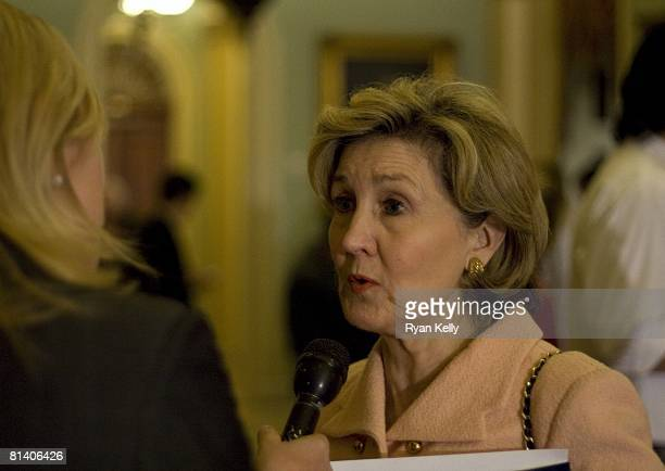Senator Kay Bailey Hutchison speaks with reporters Tuesday afternoon following a GOP Caucus Luncheon