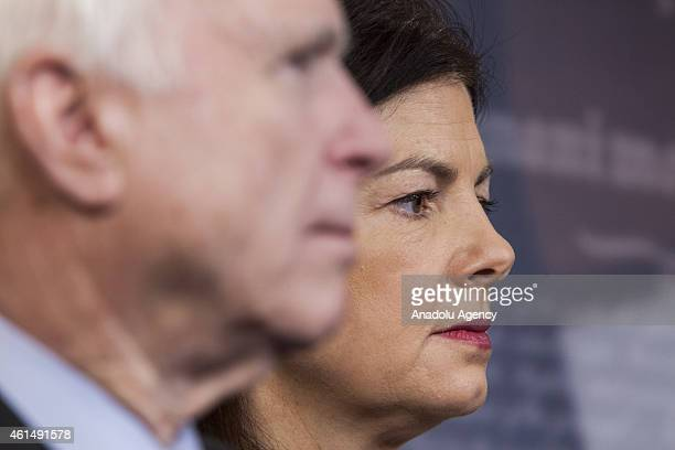 Senator Kelly Ayotte attends a press conference with Senator John McCain , Senator Lindsey Graham , and Senator Richard Burr to announce new proposed...