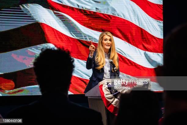 Senator Kelly Loeffler, a Republican from Georgia, addresses a crowd during a GOP election night party in Atlanta, Georgia, U.S., on Tuesday, Jan. 5,...