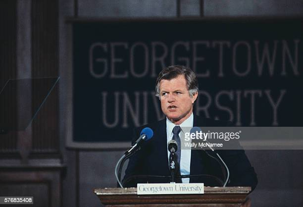senator kennedy speaking at georgetown university - member of congress stock pictures, royalty-free photos & images