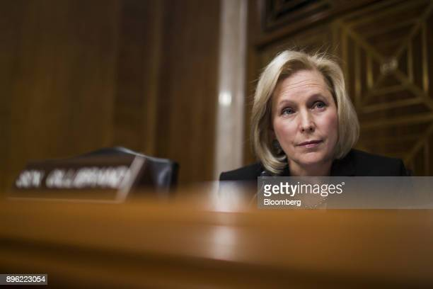 Senator Kirsten Gillibrand a Democrat from New York listens during a Senate Committee on Environment and Public Works Subcommittee on Transportation...