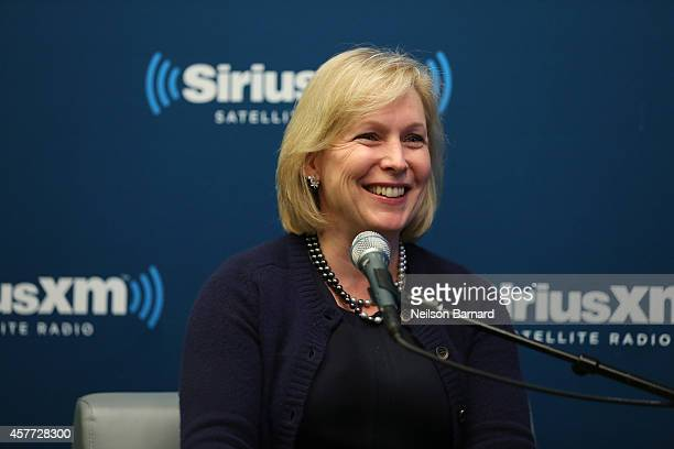 Senator Kirsten Gillibrand attends SiriusXM's 'Leading Ladies with Kirsten Gillibrand hosted by Perri Peltz' at the SiriusXM studios on October 23...
