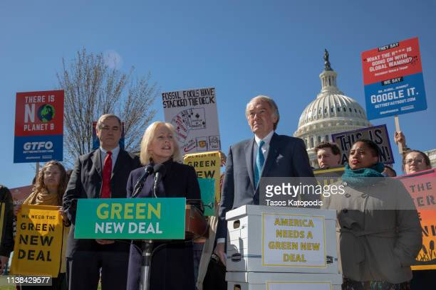 Senator Kirsten Gillibrand speaks on Capitol Hill on March 26, 2019 in Washington, DC. Protesters called for climate action in Congress and to blast...