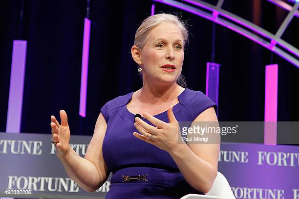 Senator Kirsten Gillibrand speaks onstage during Fortune's Most Powerful Women Summit Day 1 at the Mandarin Oriental Hotel on October 12 2015 in...
