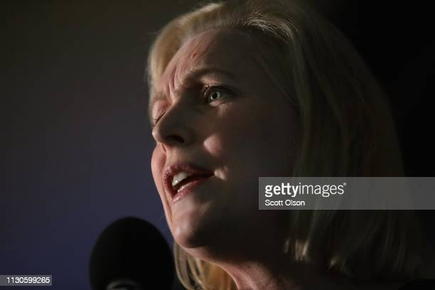 S Senator Kirsten Gillibrand speaks to guests during a campaign stop at the Chrome Horse Saloon on February 18 2019 in Cedar Rapids Iowa Gillibrand...
