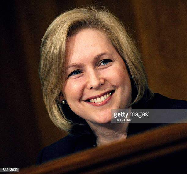 US Senator Kirsten Gillibrand takes her seat during testimony by former US Vice President Al Gore during the Senate Foreign Relations Committee...