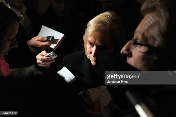 S Senator Kirsten Gillibrand talks to reporters after her swearingin to at the US Capitol on January 27 2009 in Washington DC Gillibrand was selected...