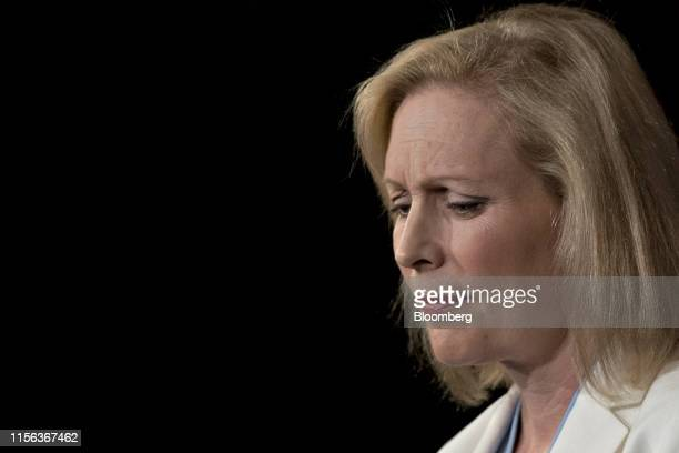 Senator Kristen Gillibrand a Democrat from New York listens during a news conference on the September 11th Victim Compensation Fund at the US Capitol...