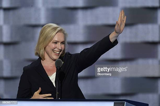 Senator Kristen Gillibrand a Democrat from New York speaks during the Democratic National Convention in Philadelphia Pennsylvania US on Monday July...