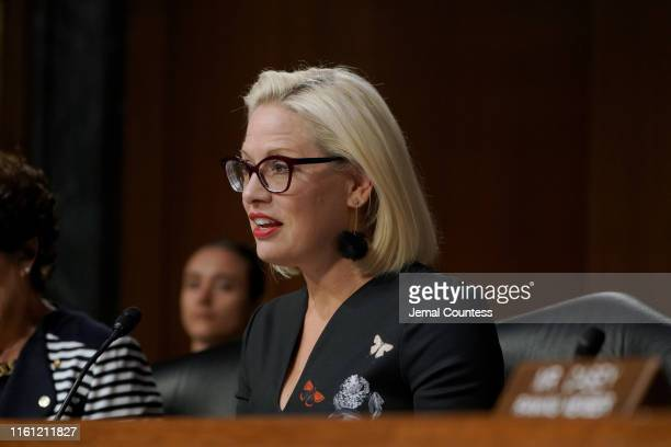S Senator Kyrsten Sinema speaks at the at the hearing on Type 1 Diabetes at the Dirksen Senate Office Building on July 10 2019 in Washington DC