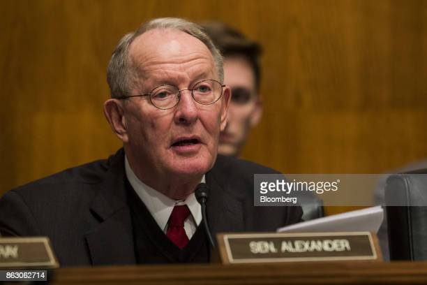 Senator Lamar Alexander a Republican from Tennessee and chairman of the Senate Health Education Labor and Pensions Committee speaks during a hearing...