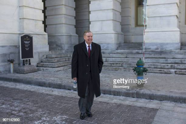 Senator Lindsey Graham a Republican from South Carolina exits the US Capitol Building in Washington DC US on Friday Jan 19 2018 Republican leaders in...