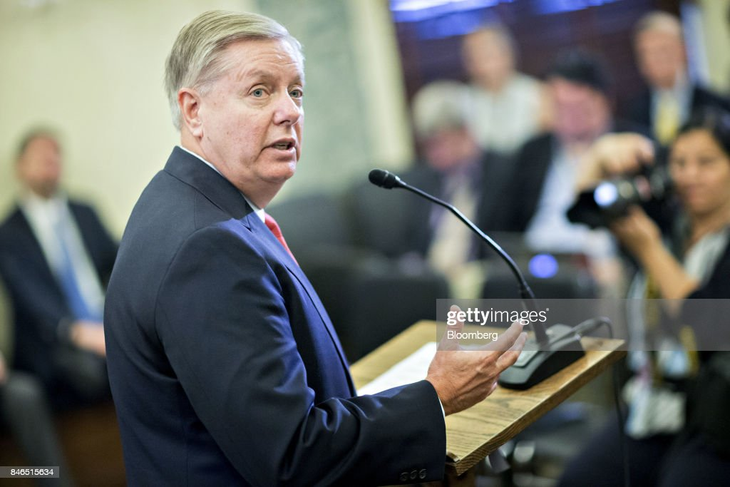 Senator Lindsey Graham, a Republican from South Carolina, speaks during a news conference to reform health care on Capitol Hill in Washington, D.C., U.S., on Wednesday, Sept. 13, 2017. The Graham-Cassidy-Heller-Johnson (GCHJ) proposal repeals the structure of Obamacare and replaces it with a block grant given annually to states to help individuals pay for health care. Photographer: Andrew Harrer/Bloomberg via Getty Images