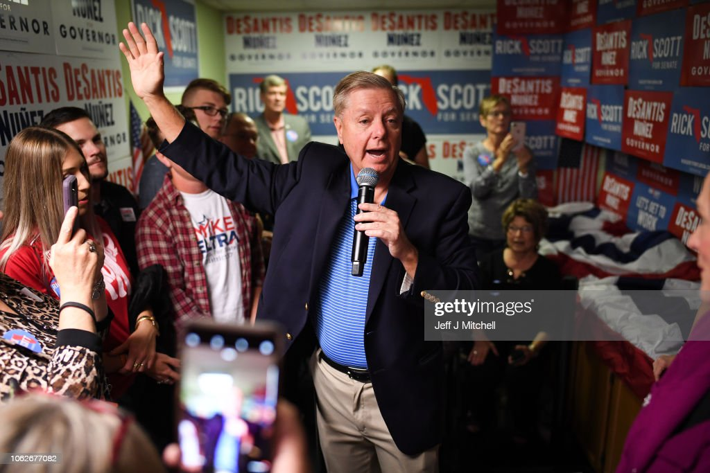 Florida GOP Gubernatorial Candidate Ron DeSantis Visits Campaign Office With Sen. Rubio : News Photo
