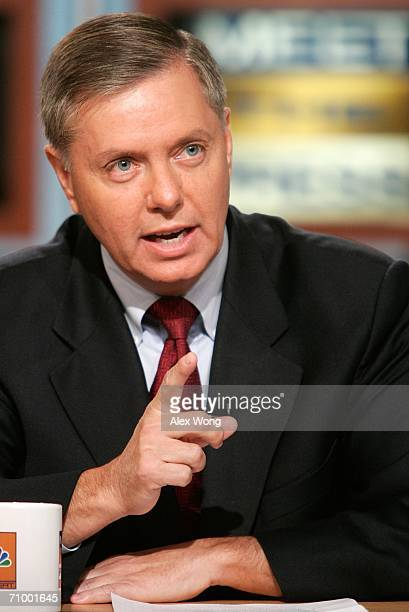 S Senator Lindsey Graham gestures as he speaks during a taping of 'Meet the Press' at the NBC studios May 21 2006 in Washington DC Graham spoke about...